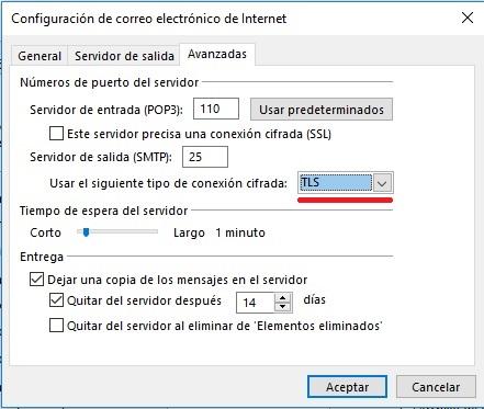 Paso 6 Configuración en Outlook